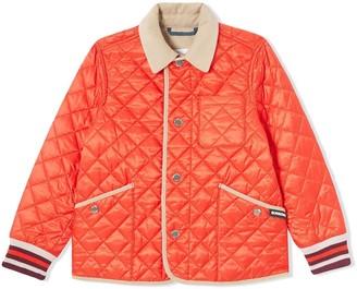 BURBERRY KIDS Corduroy Trim Lightweight Diamond Quilted Jacket
