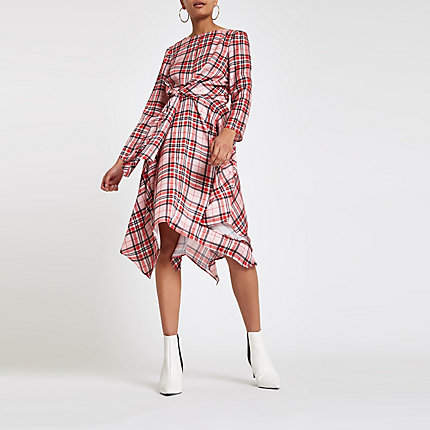 River Island Womens Pink check tie waist midi dress