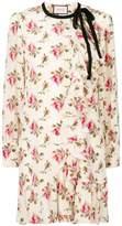 Gucci floral print frill trim dress