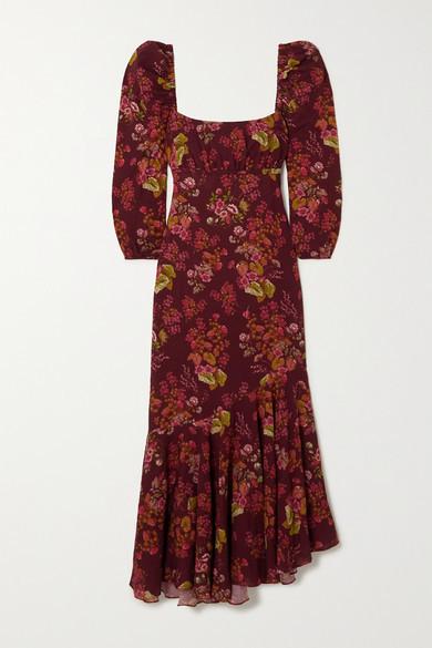 Peony Swimwear + Net Sustain Floral-print Organic Cotton-blend Dress - Merlot