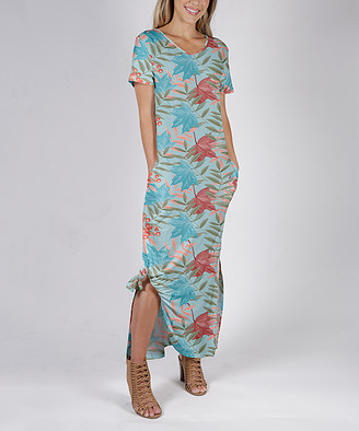 Beyond This Plane Women's Maxi Dresses BLU - Blue & Red Foliage Side-Slit Pocket Maxi Dress - Women & Plus