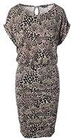 Vince Camuto Women's Short Sleeve Animal Era Shirred Dress