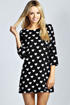 Lori Heart Print 3/4 Sleeve Shift Dress