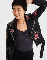 American Eagle Outfitters AE Embroidered Studded Faux-Leather Moto Jacket