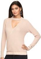 JLO by Jennifer Lopez Women's Ribbed Faux-Wrap Sweater