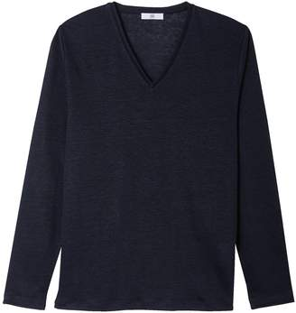 La Redoute Collections Pure Linen Long-Sleeved V-Neck T-Shirt