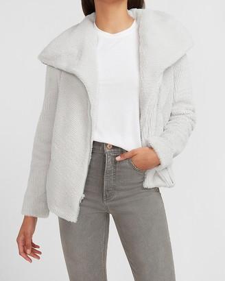 Express Asymmetrical Zip Ribbed Faux Fur Sweatshirt