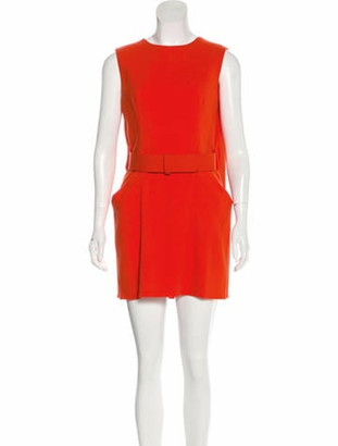 Alexander McQueen Wool Mini Dress Orange