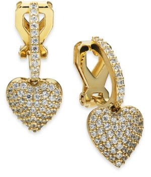 Eliot Danori Cubic Zirconia Huggie Heart Clip-On Drop Earrings, Created for Macy's
