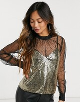 Thumbnail for your product : Forever U dobby mesh long sleeve top with sequin cami in black and gold