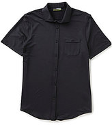 Murano Performance Short-Sleeve Slim-Fit Point-Collar Solid Shirt