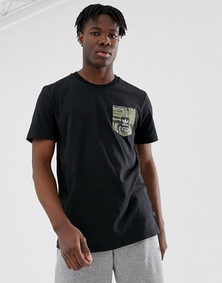 adidas Skateboarding t-shirt with pocket print in black