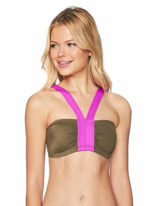 Coastal Blue Women's Swimwear Bandeau V Neck Halter Bikini Top