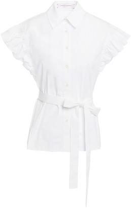 Carolina Herrera Belted Ruffled Cotton-blend Poplin Top