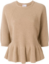 RED Valentino ribbed knit peplum top