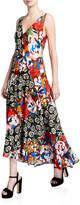 M Missoni Floral-Print V-Neck Sleeveless Long Asymmetrical Dress