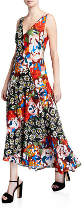 M Missoni Floral-Print V-Neck Sleeveless Long Asymmetrical Dress