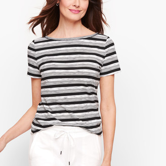 Talbots Twist Back Jersey Tee - Stripe
