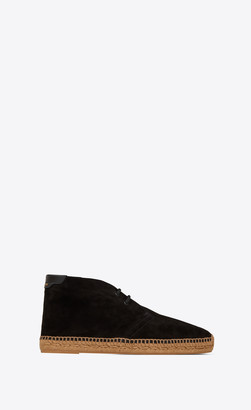 Saint Laurent Laced Espadrilles In Suede Black 10