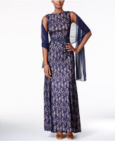 Alex Evenings Petite Belted Sequined Lace Gown with Shawl
