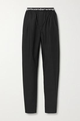 alexanderwang.t Jacquard-trimmed Cotton-poplin Straight-leg Pants - Black