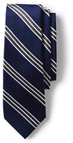 Classic Men's Silk Prep Stripe Necktie-Dark Bay Blue Multi Stripe