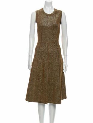 Veronica Beard Crew Neck Midi Length Dress Gold