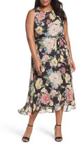 Tahari Plus Size Women's Floral Cutaway Chiffon Maxi Dress