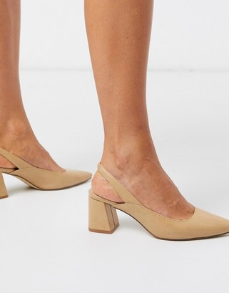 Truffle Collection pointed slingback block heel shoes in beige