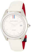 Brooks Brothers Men&s Fleece Collection White Leather Strap Watch