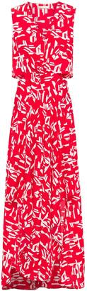 Maje Renilde Cutout Printed Crepe De Chine Maxi Dress