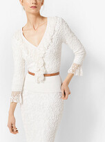 Michael Kors Soutache Stretch-Viscose Pullover With Hand-Knit Crochet Trim