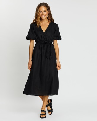 AERE - Women's Black Midi Dresses - Linen Wrap Dress - Size 6 at The Iconic