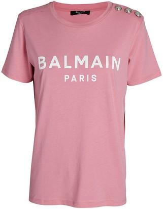 Balmain Logo Cotton Crewneck T-Shirt
