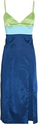 STAUD Ellis Colorblock Satin Dress