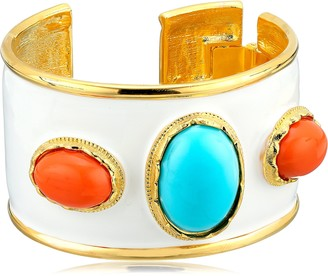 Kenneth Jay Lane White Enamel Turquoise Color and Coral Cuff Bracelet