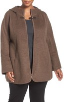 Ellen Tracy Double Face Zip Front Hooded Jacket (Plus Size)