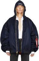 Vetements Reversible Navy Alpha Industries Edition Hooded Bomber Jacket