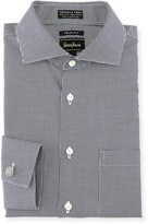 Neiman Marcus Trim-Fit Non-Iron Herringbone Dress Shirt, Black