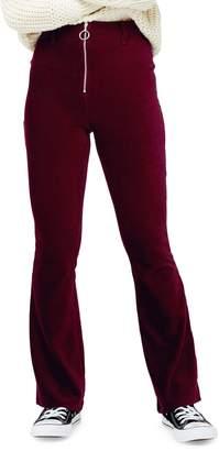 Topshop PETITE Zip Flare Corduroy Pants