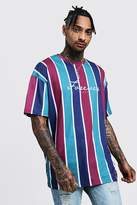 Oversized Slogan Vertical Stripe T-Shirt