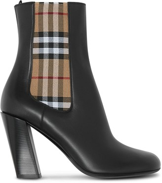 Burberry Vintage Check Detail Ankle Boots