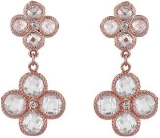 Latelita Flower Clover Double Drop Earrings Rose Gold