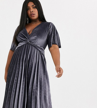 Asos DESIGN Curve twist detail pleated kimono midi dress in velvet-Silver