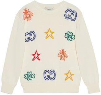 Gucci Children's cotton jumper with symbols