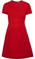 Valentino Lace-appliqued Two-tone Cotton-blend Cady Mini Dress