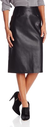 J.o.a. Women's Faux Leather Pencil Skirt with Back Slit