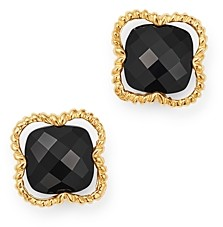 Bloomingdale's Black Onyx Clover Stud Earrings in 14K Yellow Gold - 100% Exclusive