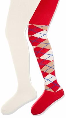Playshoes Girl's elastisch Karo und Uni mit Komfortbund Tights