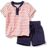 Old Navy Slub-Knit Henley & Cuffed Jersey Shorts Set for Baby
